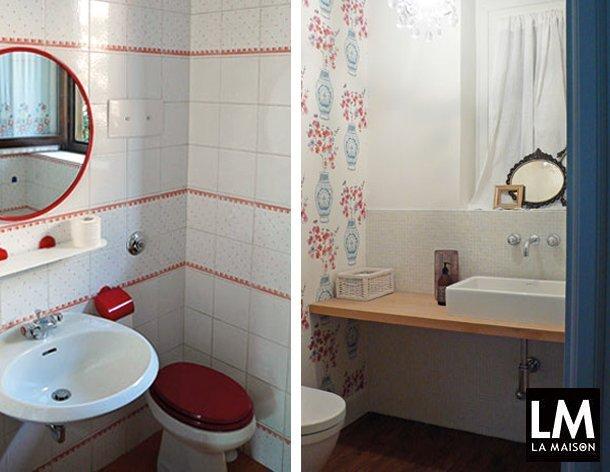 Ristrutturare e rimodernare il piccolo bagno per gli ospiti la maison e lifestyle magazine - Piastrelle rosse lucide ...