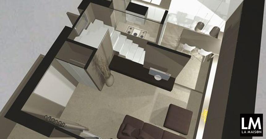 Ristrutturare un appartamento per camuffare la scala rivestita in granito