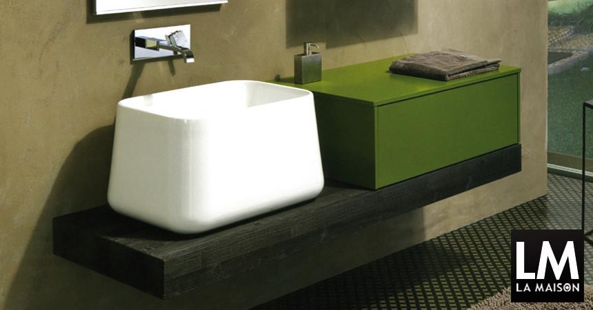 Top in legno per lavabo e Top in ecocemento
