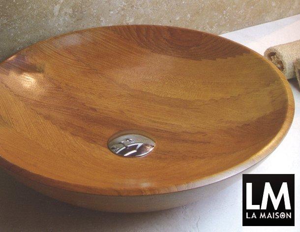 La maison lavabo tondo circolare in teak accessori bagno in legno la maison e lifestyle magazine - Accessori bagno in legno ...