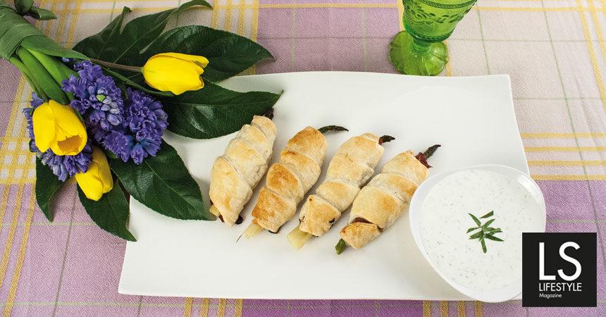 Ricetta. Asparagi in crosta con crudo e creme fraiche