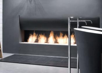 Caminetti a bioetanolo e legna per il bagno. Antonio Lupi.